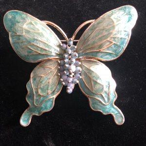 Mint Green Vintage Butterfly Brooch
